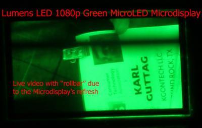 Lumens 1080p micro-LED microdisplay, CES 2019 (Karl Guttag)