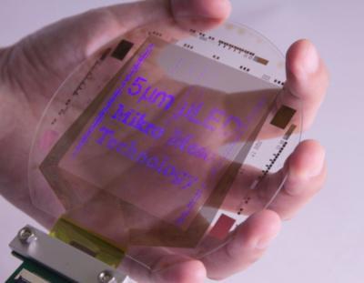 Mikro Mesa 4'' 5um microLed transfer process prototype