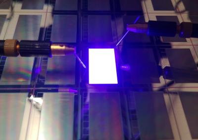 Plessey and Compound photonics, blue array microLED microdisplay photo
