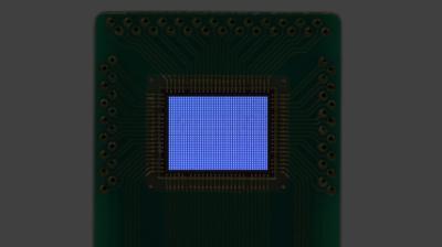 Plessey passive-matrix monochrome microLED microdisplay prototype