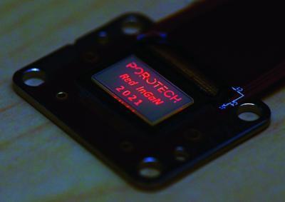 Porotech red InGaN microLED microdisplay prototype (2021)