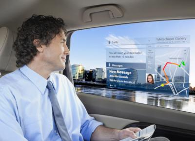 Transparent Micro-LED automotive display concept image